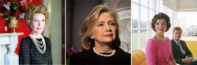 (왼쪽부터)진주 주얼리를 착용한 고(故) 낸시 레이건. '파워 펄스'로 불리는 진주 귀걸이와 목걸이를 한 힐러리 클린턴. 진주 목걸이를 한 고(故) 재클린 케네디.  [Getty images]