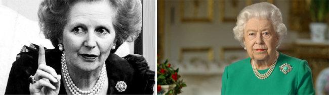 진주를 애용한 철의 여인 고(故) 마거릿 대처(왼쪽). TV 연설을 하는 엘리자베스 영국 여왕. [Getty images, 뉴시스]