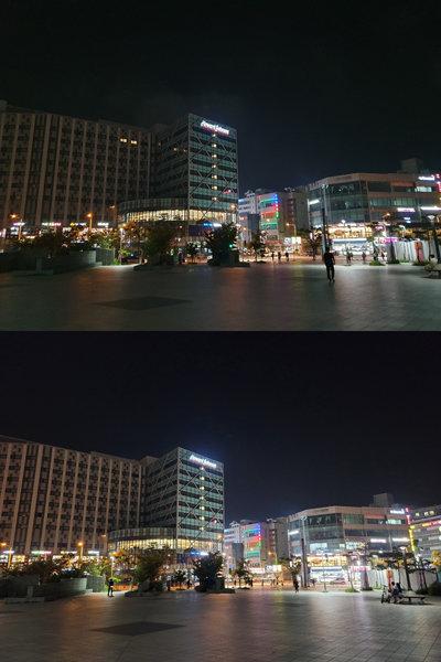 기자가 쓰고 있는 갤럭시 S10 플러스로 찍은 야경(위)과 갤럭시 노트20 울트라로 찍은 야경. [구희언 기자]