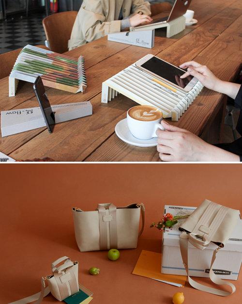 종이로 만든 그레이프랩의 노트북 거치대(위).자동차 시트 가죽 등을 활용해 만든 모어댄 컨티뉴 신상 가방. [SK이노베이션, 모어댄]