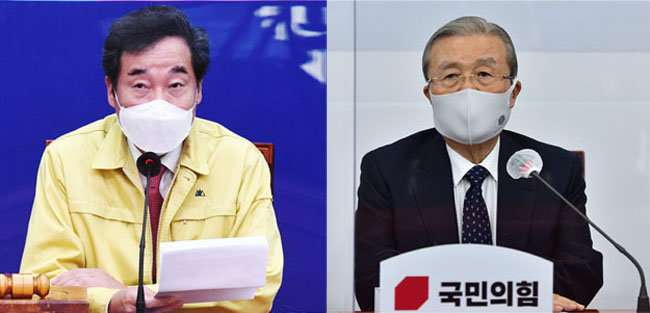 더불어민주당 이낙연 대표(왼쪽). 김종인 국민의힘 비상대책위원장. [뉴시스]