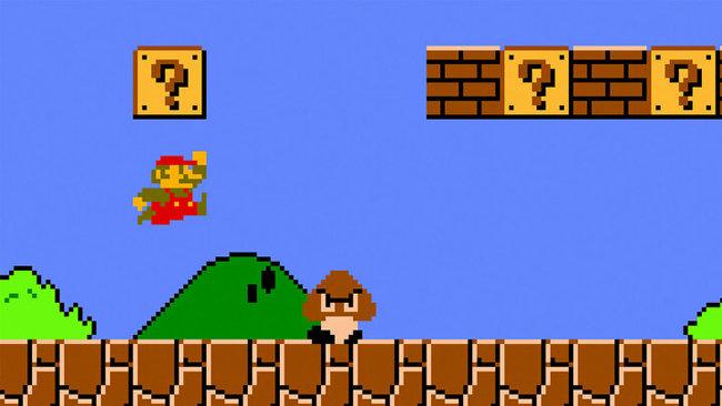 픽셀의 한계로 수염과 모자를 착용한 게임 속 캐릭터 마리오. [닌텐도 슈퍼마리오 브라더스1 캡쳐]
