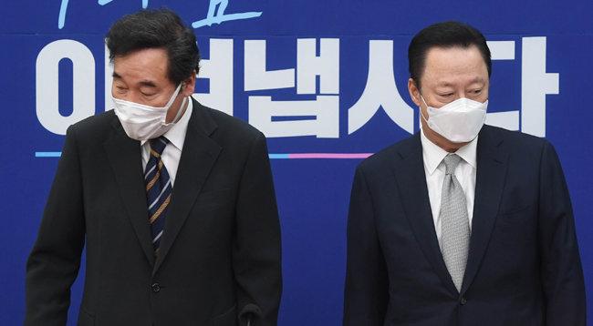 더불어민주당 이낙연 대표가 9월22일 서울 여의도 국회에서 박용만 대한상공회의소 회장을 만났다. [뉴스1]