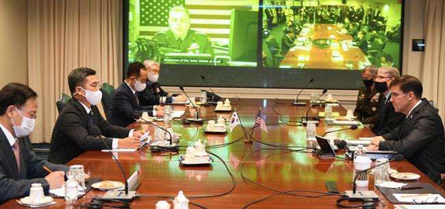 10월14일 미국 워싱턴에서 열린 한미안보협의회. [국방부 제공]