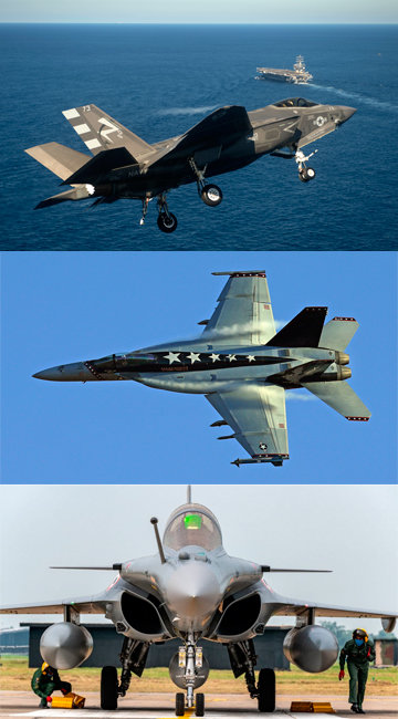 CATOBAR 방식의 항공모함이 도입할 수 있는 함재기인 F-35C와 F/A-18E/F, 프랑스의 라팔(위부터). [동아DB]
