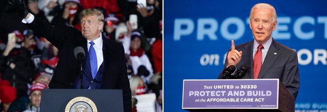 도널드 트럼프 미국 대통령(왼쪽)과 조 바이든 미국 민주당 대선후보. [동아db]