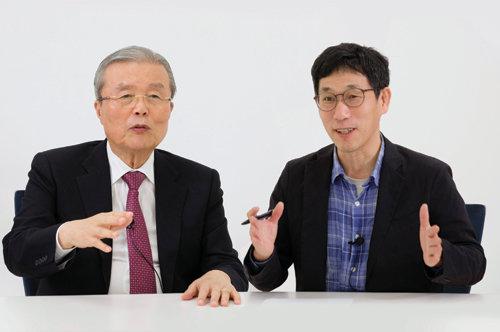 김종인-진중권 대담. [사진=지호영 기자]