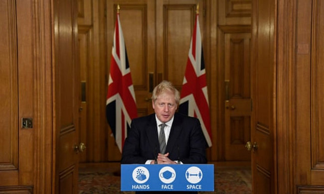 존슨 영국 총리가 코로나19 확산방지를 위난 2차 봉쇄조치를 발표하고 있다. [PA]