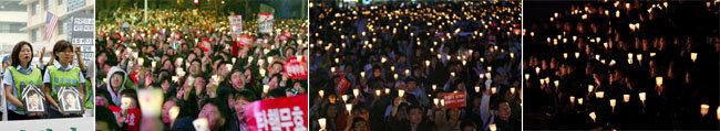 2002년 반미, 2004년 탄핵 반대, 2008년 광우병 사태, 2016년 국정농단 등 네 번의 촛불집회.(왼쪽부터)  [동아db]
