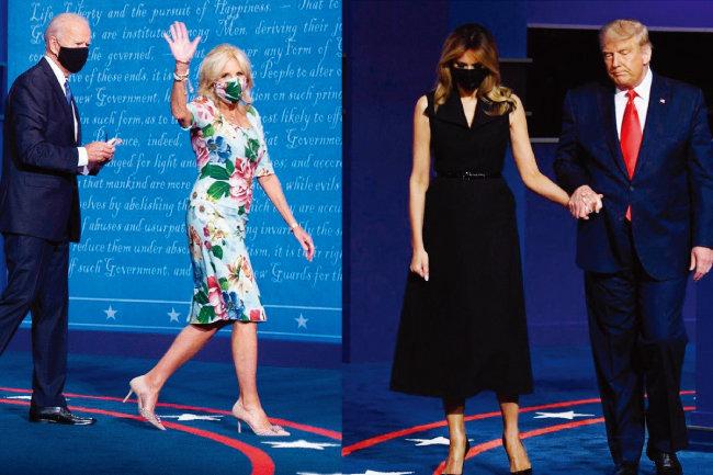 대선토론회 참석한  질 바이든(왼쪽) 여사와 멜라니아 트럼프 여사. [EPA_Bloomberg]