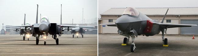 공군이 60대를 운용 중인 F-15K(왼쪽)와 40대를 도입할 예정인 F-35A. [동아db]