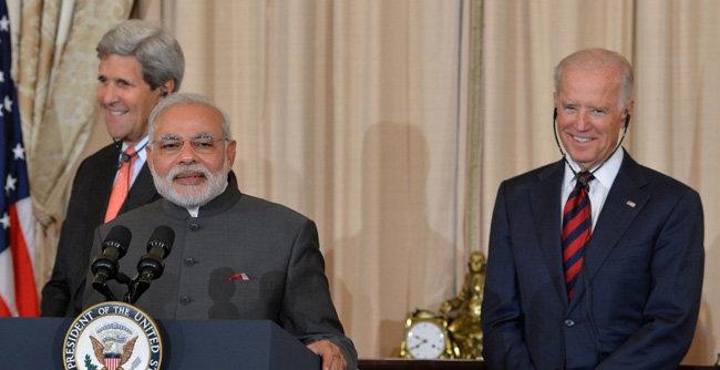 나렌드라 모디 인도 총리가 2014년 미국을 방문해 조 바이든 당시 부통령과 기자회견을 하고 있다. [DOS]