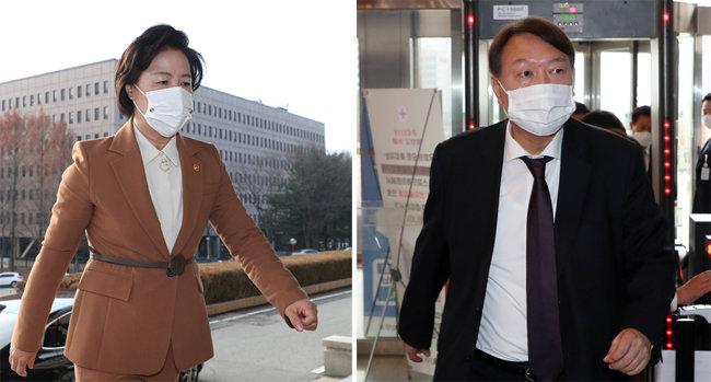 추미애 법무부 장관과 윤석열 검찰총장. [동아DB]