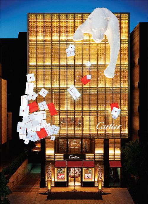 크리스마스 데코레이션을 마친 '까르띠에 메종 청담'. [© Cartier]