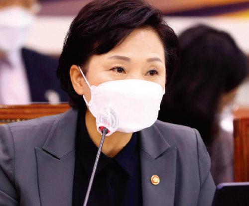 김현미 국토교통부 장관이 11월30일 국회 국토교통위원회 전체회의에서 '빵' 발언을 하고 있다. [뉴스1]