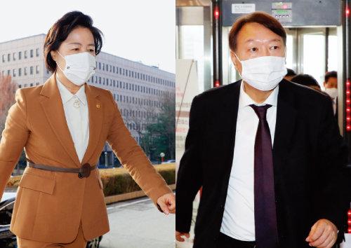 추미애 법무부 장관(왼쪽)과 윤석열 검찰총장.  [동아DB]