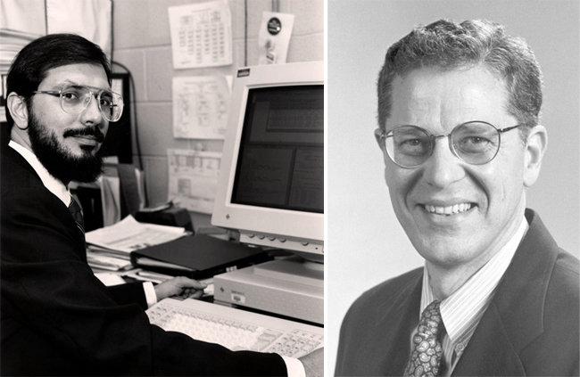 아레시보 망원경을 이용해 쌍성 펄서를 발견해 노벨물리학상을 받은 과학자 러셀 힐스(왼쪽)와 조지프 테일러. [미국 에너지부 United States Department of Energy 홈페이지, 노벨상 The Nobel Prize 홈페이지]