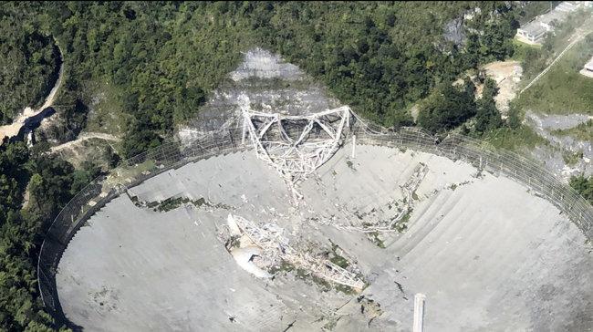 아레시보 망원경이 12월 1일 붕괴됐다. [AP=뉴시스]