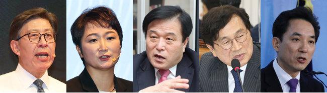 국민의힘 부산시장 보궐선거 후보로 거론되는 인사들. 박형준 동아대 교수, 이언주 전 의원, 이진복, 유재중, 박민식 전 의원(왼쪽부터)
