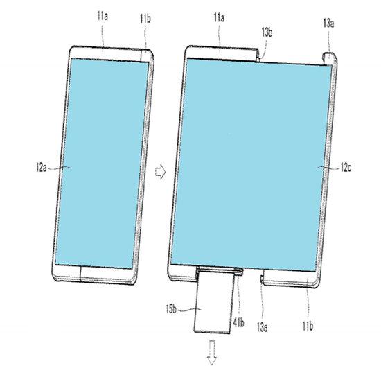 화면 크기가 늘어나는 LG전자 롤러블폰. [출처·LG전자 특허 자료]