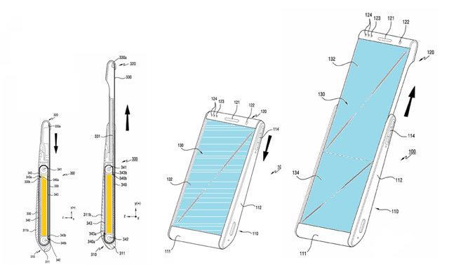 화면을 길게 늘이는 삼성전자 스크롤러블폰. [출처·삼성전자 특허 자료 ]
