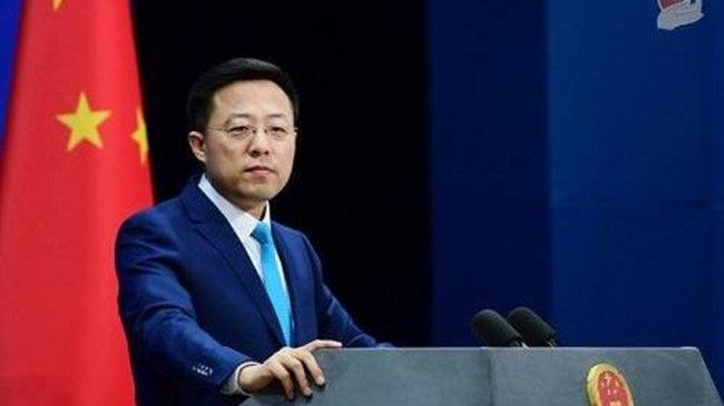 자오리젠 중국 외교부 대변인이 호주의 남중국해 문제 개입을 비판하고 있다. [중국 외교부]