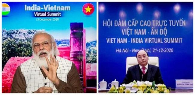 모디 인도 총리와 응우옌 베트남 총리가 화상 정상회담을 갖고 있다. [PTI]