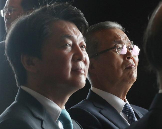 국민의힘 김종인 비상대책위원장(오른쪽)과 국민의당 안철수 대표. [뉴스1]