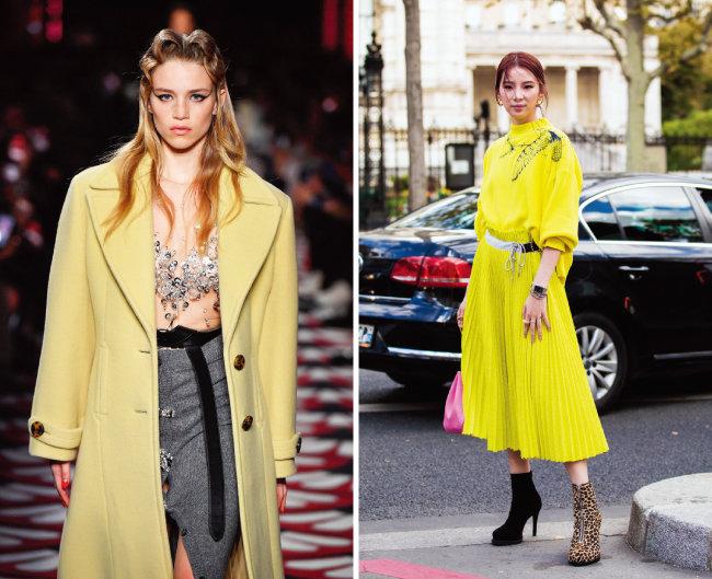 미우미우의 2020/21 F/W 파리 패션위크(왼쪽)와 생동감을 더하는 일루미네이팅 컬러 드레스. [GettyImages]