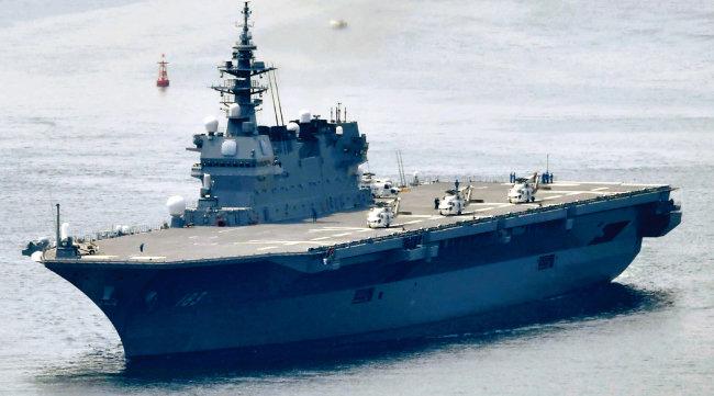 일본 해상자위대 소속 이즈모(いずも)급 호위함. 사실상 항공모함으로 평가된다. [AP=뉴시스]