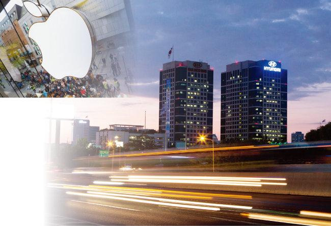 서울 서초구 양재동 현대기아차 본사 건물과 애플 로고.  [뉴시스]