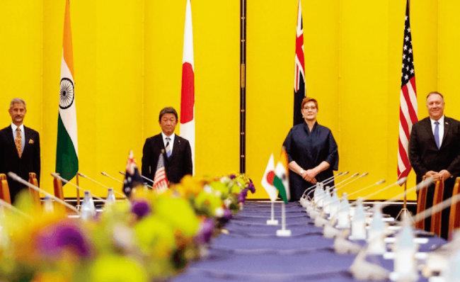 지난해 10월  일본 도쿄에서 열린 '쿼드(Quad)' 회의에 참석한 인도, 일본, 호주, 미국 외교장관(왼쪽부터). [ANI]