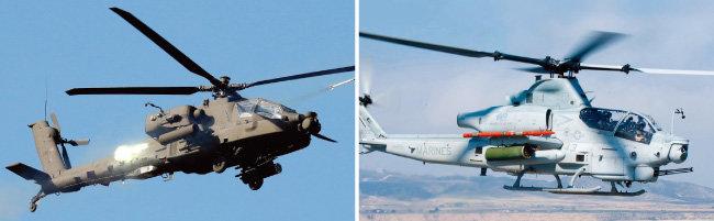미군 AH-64E 아파치 가디언(왼쪽)과 AH-1Z 바이퍼 헬기. [뉴시스, 사진 제공 · 미국 해군]