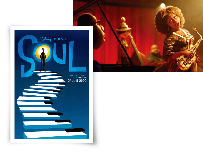 영화 '소울' 포스터 (왼쪽)와 재즈를 연주  중인 영화 '소울'의  주인공들. [사진 제공 · 네이버 영화]