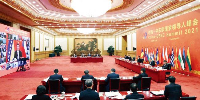중국과 중·동유럽 17개국은 2월 9일 화상으로 '17+1' 정상회의를 가졌다. [CGTN]