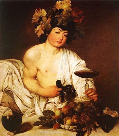 카라바조가 그린 와인의 신 바쿠스(디오니소스) 역시 넓은 와인 잔을 썼다. [위키피디아]