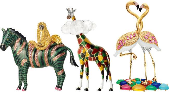 쇼메 '에스피에글르리'  동물 브로치 중 얼룩말, 기린, 플라밍고(왼쪽부터). [쇼메]