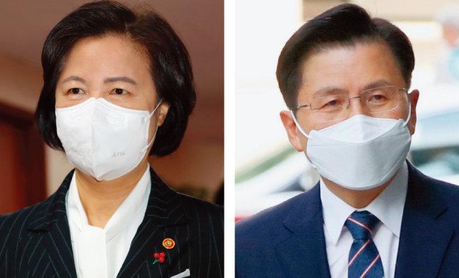 추미애 전 법무부 장관(왼쪽)과 황교안 전 미래통합당 대표. [동아DB]
