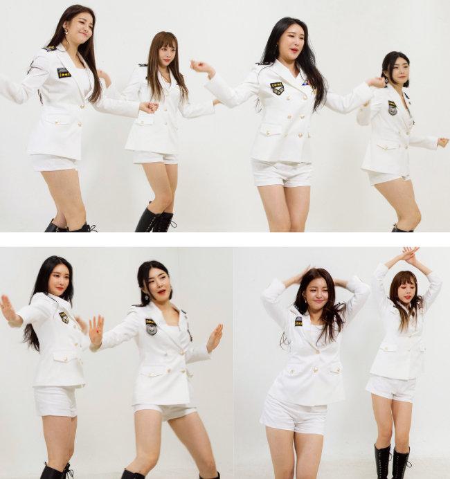 롤린(Rollin') 댄스를 선보이고 있는 멤버들. [박해윤 기자]
