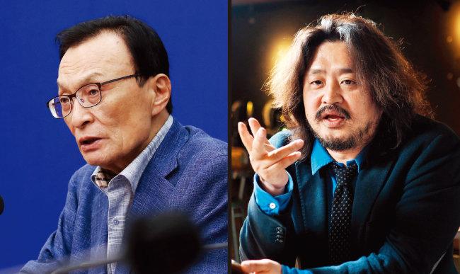 이해찬 전 대표(왼쪽)와 방송인 김어준 씨. [동아DB]