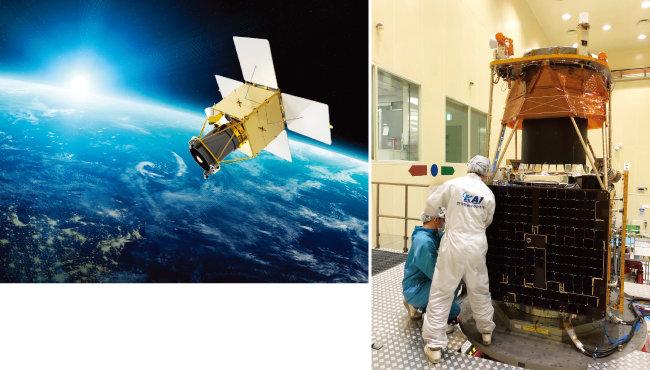 차세대중형위성 2호의 우주 발사 후 상상도(왼쪽). 한국항공우주산업 소속 엔지니어들이  차세대중형위성 2호를 검사하고 있다. [사진 제공 · 한국항공우주산업]