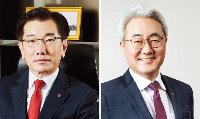 4월 11일  LG에너지솔루션과 SK이노베이션이  전기차 배터리 분쟁에서 극적으로 합의했다.  김종현 LG에너지솔루션 사장(왼쪽)과 김준 SK이노베이션 사장. [동아DB]