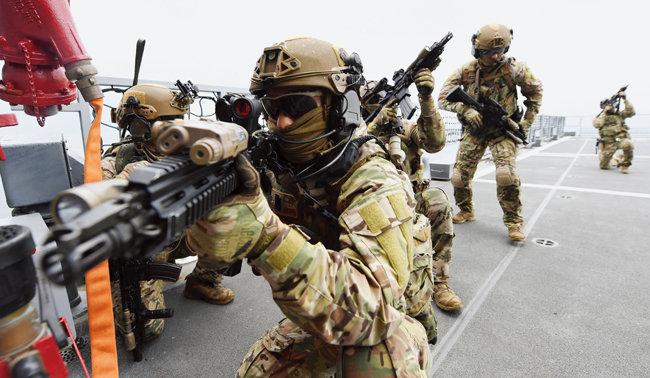 2019년 7월 26일 경남 거제시 인근 해상에서 해군 특수전전단(UDT) 대원들이 '해적대응 합동훈련'을 하고 있다. [사진 제공 · 해군]