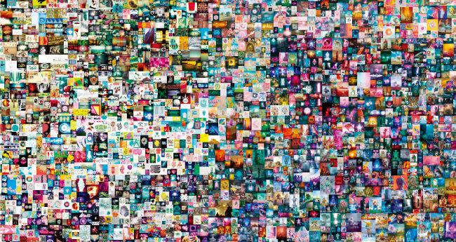 약 771억 원에 달러에 팔린 비플의 NFT 작품 '매일 첫 5000일(Everydays– The First 5000 Days)'. 하루에 하나씩 만든 이미지를 5000일 동안 조합해 완성한 콜라주다. [비플 캡처]