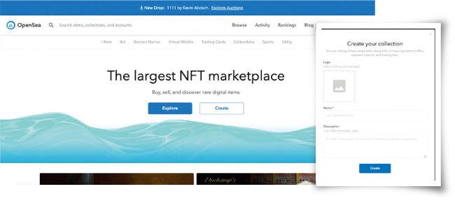 오픈씨(OpenSea) 홈페이지 메인 화면(왼쪽)과 오픈씨(OpenSea)에 작품을 등록하는 과정. [오픈시 홈페이지 캡처]