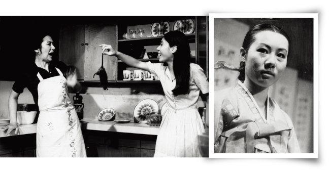 스크린 데뷔작. 고(故) 김기영 감독의 '화녀'에서 주인집 남자를 유혹하는 가정부로 열연해 청룡영화상 여우주연상, 시체스국제영화제 여우주연상을 수상한 윤여정(왼쪽). 드라마 '장희빈'에서 표독한 장희빈 역을 실감나게 연기해 스타덤에 올랐다. [동아DB]