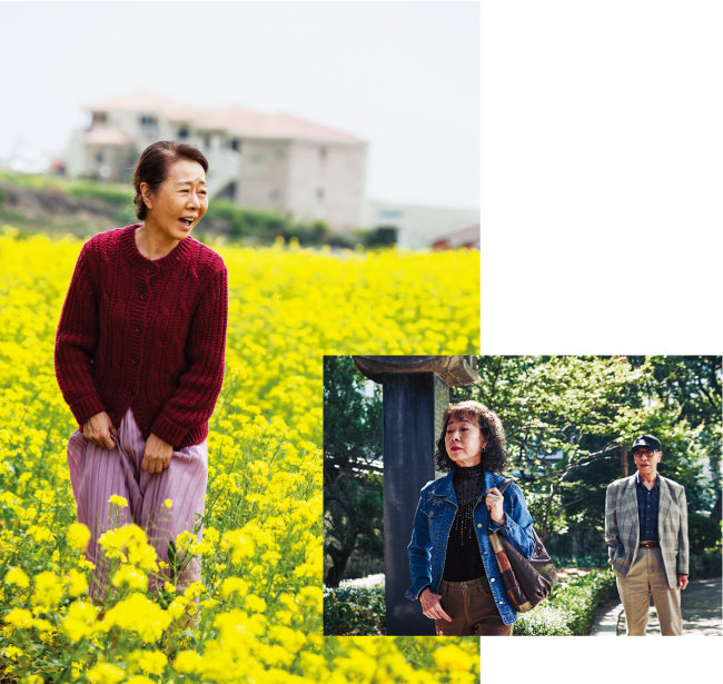 제주도 노인 계춘 역을 감각적으로 소화해 감동을 전한 영화 '계춘할망'(왼쪽). 박카스 할머니를 연기해 관객들에게 강렬한 인상을 남긴 영화 '죽여주는 여자'. [지오엔터테인먼트, 카파플러스]