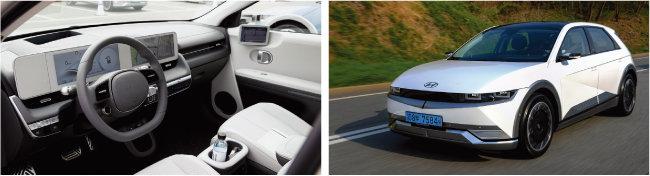 아이오닉5 실내 모습. 123인치 컬러 LCD 클러스터와 내비게이션이 일체형으로 장착됐다(왼쪽). 아이오닉 외관. [사진 제공 · 현대자동차
