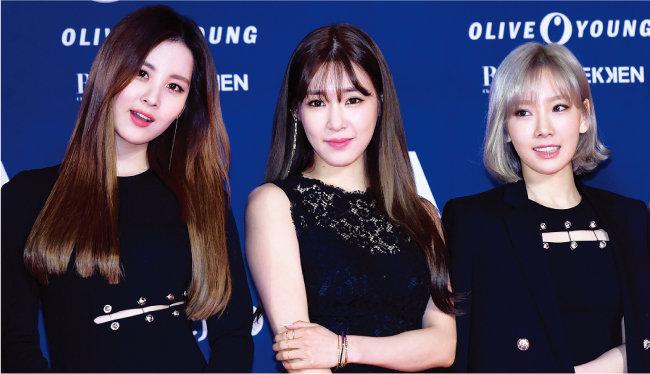 소녀시대 유닛 태티서로 활동한 서현, 티파니, 태연(왼쪽부터). [뉴스1]