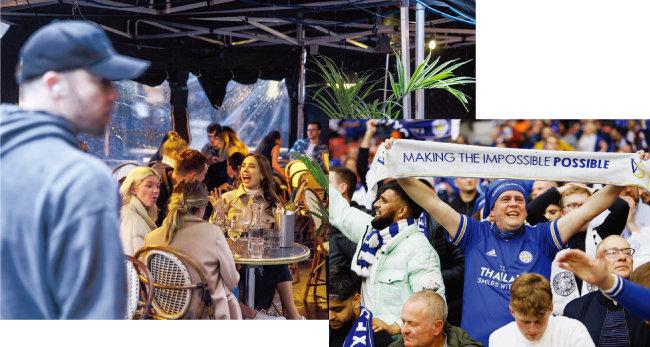 봉쇄 완화 조치 첫날인 5월 17일(현지 시각) 영국 런던 한 레스토랑에 시민들이 모여 술을 마시며 대화하고 있다(왼쪽). 5월 15일 영국 런던 웸블리 스타디움에서 레스터 시티 FC와 첼시 FC의 잉글랜드 FA컵 결승전이 열린 가운데 각 팀 팬들이 경기장에 모여 열띤 응원전을 펼쳤다. [GETTYIMAGES, 뉴시스]